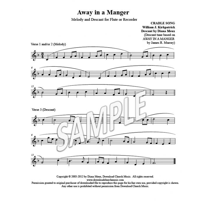 Away in a Manger  Flute or Recorder descant